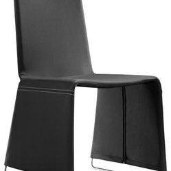 ZUO - Zuo Nova Dining Chair in Black - It's a bell bottom chair! A chromed steel base with soft leatherette covering in black, white or espresso. Like the voluminous pant legs, this sturdy, trend setting seat has a lot of flare!