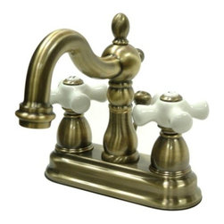 """Kingston Brass - Two Handle 4"""" Centerset Lavatory Faucet with Retail Pop-up KB1603PX - This bathroom faucet features aesthetic colonial elegance with its graceful, round curves and Victorian style spout. This faucet has a deck mount setup and features a 4"""" centerset installation. The body is fabricated from solid brass for durability and long-lasting use. The color finish is made of vintage brass for its faded yellow complexion, as well as resisting scratches, corrosion and tarnishing. The spout has a reach of 4-3/4"""" and a height of 6-1/4"""". The handles allow for easy management of water volume and temperature. The faucet operates with a ceramic disc valve for droplet-free functionality with the water measured 2.2 GPM (8.3 LPM) and a 60 PSI maximum rate.  An integrated removable aerator is inserted beneath the spout's head piece for conserving water flow. A pop-up drain in a matching finish is included. All mounting hardware is included and standard US plumbing connections are used.  A 10-year limited warranty is provided to the original consumer.. Manufacturer: Kingston Brass. Model: KB1603PX. UPC: 663370039447. Product Name: Two Handle 4"""" Centerset Lavatory Faucet with Retail Pop-up. Collection / Series: Heritage. Finish: Vintage Brass. Theme: Classic. Material: Brass. Type: Faucet. Features: Drip-free washerless cartridge system"""