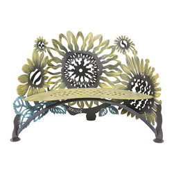 Cricket Forge - Sunflower Bench - The sunflower is the happiest of flowers and represents loyalty and longevity. This vibrant and graceful Sunflower Bench will resonate warmth and sunlight all the days of the year.