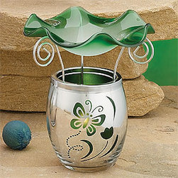 Artico - Green Electroplated Collectible Glass Oil Burner Warmer Aromatherapy - This gorgeous Green Electroplated Collectible Glass Oil Burner Warmer Aromatherapy has the finest details and highest quality you will find anywhere! Green Electroplated Collectible Glass Oil Burner Warmer Aromatherapy is truly remarkable.