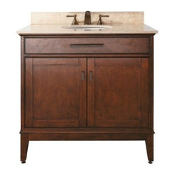 "Avanity - Avanity MADISON-V36-TO Madison 36"" Vanity Cabinet Only in Tobacco - Avanity MADISON-V36-TO Madison 36"" Vanity Cabinet Only in TobaccoThe Madison Collection combines function with style. This collection is designed with strong attractive lines and is constructed of solid birch wood and veneer. It features soft-close door hinges and drawer glides. You have several options of stone tops with backsplash which accommodate undermount sinks (sold separately). Also available is a matching mirror and linen tower to complete your bathroom (both sold separately).Avanity MADISON-V36-TO Madison 36"" Vanity Cabinet Only in Tobacco, Features:bull; Dimensions: 36"" w x 21"" d x 34"" h"