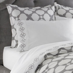 Jonathan Adler - Jonathan Adler Hollywood Pillowcase Set Grey - Hollywood collection features 400 thread count, 100% cotton percale in Jonathan Adler's signature patterns. Comes as a set of two. Chic and classique—very you!