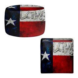 DiaNoche Designs - Love for Texas Ottoman - Lightweight, artistic, bean bag style ottomans. Coming in 2 square sizes and 1 round, you now have a unique place put rest your legs or tush after a long day. Artist print on all sides. Dye Sublimation printing adheres the ink to the material for long life and durability. Printed top, khaki colored bottom. Machine washable. Product may vary slightly from image.