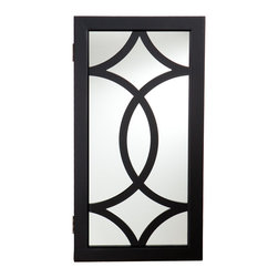 SEI - Geneva Wall Mount Jewelry Mirror - Add storage and style with this black, wall mount jewelry mirror. It provides an assortment of storage options and is the perfect solution to keep you organized. The unit offers 14 hanging hooks, 16 earring notches, four cushioned ring holders, and a shelf with three bins for assorted pieces. The inside storage features black felt lining to help prevent your most prized possessions from scuffing or scratching. This well-designed wall mount jewelry mirror will be a beautiful addition to any bedroom, walk-in closet, bathroom or entryway. This jewelry mirror blends with any decor and works especially well in transitional to contemporary homes.