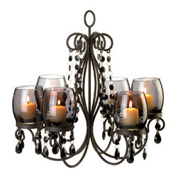 n/a - Midnight Elegance Chandeler - The glow of a sultry evening can be yours whenever you want.  This chandelier's faceted baubles dangle and reflect the sparkle of six candles set in tinted glass, creating the perfect ambiance for a romantic getaway right in your own home.