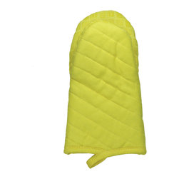 MU Silicone Oven Mitt - Lemon Drop - Protect your hands and tighten your grip with the new MU Kitchen Silicone Oven Mitt.  The contact area features 100% silicone in a fashionable MUGrip pattern while the outside is 100% quilted solid cotton with a soft terry lining.Product Features                      Terry lining          Sure grip silicone          100% quilted cotton construction
