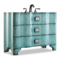 Cole + Co. Designer Series Chambers Single Bathroom Vanity - When it comes to the Cole + Co. Designer Series Chamberlain Single Bathroom Vanity, the blues are a beautiful thing. Crafted with durable hardwood solids, this bright vanity brings a color pop to any bathroom with an intense, hand-painted blue crackle finish. A curved front and oversized pewter hardware add interest, while two working storage drawers, each lined with wallpaper, catch spare linens and toiletries. The included Cole + Co. sink - the Carlisle - is available in white or biscuit shades. Includes pre-drilled sink and three faucet holes with an 8-inch spread.About Cole + Co.Cole + Co. has the expertise and knowledge to effortlessly marry functionality with style, taking the painstaking difficulty out of finding extraordinary pieces for the bathroom. Wood solids such as elm, alder and pine are combined with birch, cherry and aspen veneers for a truly custom and unique look. Currently available across the United States and Canada, Cole + Co.'s vanity units and accessories are moderately priced for the architect, home builder, designer and consumer.