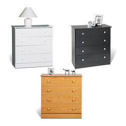 None - Four-drawer Chest - Try this 4 Drawer Chest for a moderate amount of clothing storage. Offering four drawers for your clothing, this chest won't overwhelm your bedroom or shortchange you on space.
