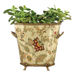 Oriental Danny - Porcelain planter with bronze ormolu - Hand painted porcelain planter with bronze ormolu accent. Great for orchid and flower arrangement