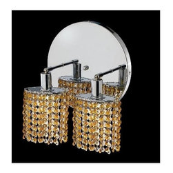 Elegant Lighting - Mini Topaz Crystal Sconce w 2 Lights in Chrome (Strass Swarovski) - Choose Crystal: Strass Swarovski. Bulbs not included. Crystal Color: Lt. Topaz (Yellow). Chrome finish. Number of Bulbs: 2. Bulb Type: GU10. Bulb Wattage: 55. Max Wattage: 110. Voltage: 110V-125V. Assembly required. Meets UL & ULC Standards: Yes. 9 in. D x 13.5 in. H (6lbs.)Description of Crystal trim:Royal Cut, a combination of high quality lead free machine cut and machine polished crystals & full-lead machined-cut crystals..SPECTRA Swarovski, this breed of crystal offers maximum optical quality and radiance. Machined cut and polished, a Swarovski technician¢s strict production demands are applied to this lead free, high quality crystal.Strass Swarovski is an exercise in technical perfection, Swarovski ELEMENTS crystal meets all standards of perfection. It is original, flawless and brilliant, possessing lead oxide in excess of 39%. Made in Austria, each facet is perfectly cut and polished by machine to maintain optical purity and consistency. An invisible coating is applied at the end of the process to make the crystal easier to clean. While available in clear it can be specially ordered in a variety of colors.Not all trims are available on all models.
