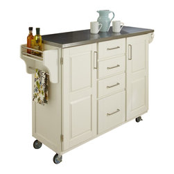 Home Styles - Home Styles Furniture Stainless Steel Kitchen Cart in White - Home Styles - Kitchen Carts - 91001022 - Home Styles Create-a-cart in a white finish with a stainless steel top features solid wood construction and 4-Utility drawers; 2 cabinet doors open to storage with adjustable shelf inside; Handy spice rack with Towel bar; Paper Towel holder; Heavy duty locking rubber casters for easy mobility and safety.