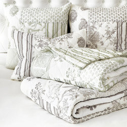 Ballard Designs - Ava Jardin Patchwork Quilt - Patches vary in size. Our Ava Jardin Bedding's sophisticated patchwork was created from our best-selling Ava Block Print and Jardin Toile bedding collections. Block print and toile patches are hand finished in pillowy 100% cotton and reverse to a stripe for a layered look.Ava Jardin Patchwork Bedding features:.