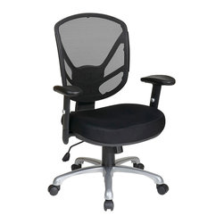 Office Star - Work Smart Ventilated Seating S2721-3 Screen Back 2-to-1 Synchro Tilt Chair - Screen back 2-to-1 synchro tilt chair with aluminum finish base. Thick padded contour mesh seat with screen back. One touch pneumatic seat height adjustment. 2-to-1 synchro tilt control with adjustable tilt tension. Height adjustable pu padded arms. Heavy duty aluminum finish base with dual wheel carpet casters.