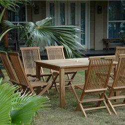 7 Piece Classic Folding Chair Teak Patio Collection -