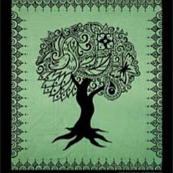 Zeckos - Green Tree of Life Cotton Tapestry 100 Inch x 90 Inch Celtic - This 100% cotton, 100 inch by 90 inch tapestry features a design of the Tree of Life, with images of birds and butterflies forming the leafy part of the Tree. Made in India using traditional methods, the tapestry can be hung on the wall, but also makes a great bedspread, table cloth or window treatment. It makes a great gift for any fan of Celtic art.