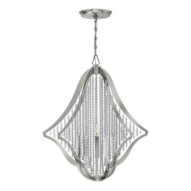 Bijou 5 Light Chandelier by Hinkley Lighting - Bijou FR43535 5 Light Chandelier features a laser cut frame in Polished Nickel finishwith strands of crystal beads that span the entire chandelier. Five 60 watt B10 120 volt candelabra lamps not included. 28.25 inch diameter x 30.75 inches high. 8 inch diameter canopy. Includes 120 inches of chain. Also available in a 12 light and 6 light version.