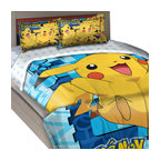 The Northwest Company - Pokemon Twin-Full Comforter Set Big Pikachu Bedding - FEATURES: