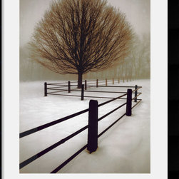 "Amanti Art - Solitude Framed Print by David Lorenz Winston - David Lorenz Winston presents this snowy landscape in black, white and brown to capture the hushed surroundings. Aptly named ""Solitude,"" the print is custom framed and ready for you to hang."