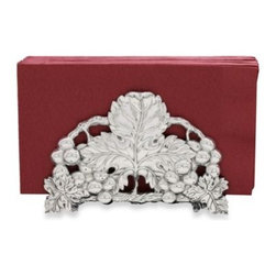 Arthur Court Designs - Arthur Court Designs Grape 6-Inch Napkin Holder - Arthur Court Designs Grape Collection features a grape motif for elegant styling and sophisticated design. Made using hand crafted and polished sand cast aluminum that never needs polishing.