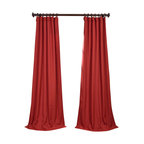 """Exclusive Fabrics & Furnishings, LLC - Heirloom Red Heavy Faux Linen Curtain - 100% Polyester. 3"""" Pole Pocket with Hook Belt & Back Tabs. Unlined. Imported. Weighted Hem. Dry Clean Only."""