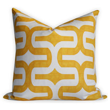 Geometric Yellow Pillow Cover Same Fabric BOTH by OhMyPillow