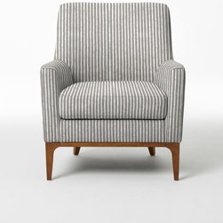 Sloan Upholstered Chair, Painted Stripe, Gravel - Every office should have a comfy place to curl up with a good book and a warm blanket. I really love this chair because the stripes are subtle enough to not overpower the small space, but they still add some interest to the room. Plus, it has a neutral color palette that will be more versatile if I decide to move it to a different room down the road.