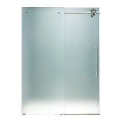 "VIGO Industries - VIGO 60-inch Frameless Shower Door 3/8"" Frosted/Stainless Steel Hardware, Right - Make your bathroom an oasis with a VIGO frameless shower door."