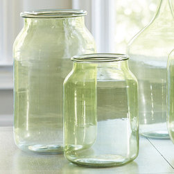 Glass Jar, Green - Changing up the glass color is one fun way to diversify your terrariums at home. Keep your wall color in mind when choosing whether clear or colored glass is right for your space.