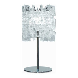 Av Mazzega - Sixty Large Table Lamp - Sixty Large Table Lamp features a glass diffuser in clear crystal, red, transparent mirror or black with finish in polished chrome. Available in a ceiling flush mount, suspension, wall sconce, table and floor lamp version. Requires one 100 watt 120 volt A19 incandescent lamp not included. 11 inch diameter x 19.7 inches high.