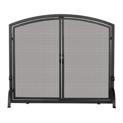 Uniflame - Uniflame S-1064 Single Panel Black Wrought Iron Screen w/ Doors- Large - Single Panel Black Wrought Iron Screen w/ Doors- Large belongs to Fireplace Accessories Collection by Uniflame