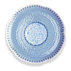 Heritage Round Hammered Platter - Blue and White Round Textured Platter