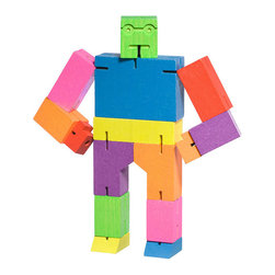 Areaware - Cubebot Medium, Multi Color - Robot toys are usually made of plastic and require batteries. Not this one! Inspired by Japanese Shinto Kumi-ki puzzles, the Cubebot is a non-traditional take on the toy robot. Cubebots's powerful hardwood frame can hold dozens poses, and his elastic-band muscles and durable wood limbs make him impervious to breakage. When it's time for him to rest, he folds into a perfect cube. An enduring classic that will withstand generations of play.