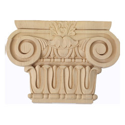 "Ekena Millwork - Medium Bradford Roman Ionic Capital (Fits Pilasters 5 5/8""W x 1 3/8""D) Alder - 10 3/4""W x 5 5/8""BW x 2 1/4""D x 7 1/2""H Medium Bradford Roman Ionic Capital (Fits Pilasters up to 5 5/8""W x 1 3/8""D), Alder. Our appliques and onlays are the perfect accent pieces to cabinetry, furniture, fireplace mantels, ceilings, and more. Each pattern is carefully crafted after traditional and historical designs. Each polyurethane piece is easily installed, just like wood pieces, with simple glues and finish nails. Another benefit of polyurethane is it will not rot or crack, and is impervious to insect manifestations. It comes to you factory primed and ready for your paint, faux finish, gel stain, marbleizing and more."