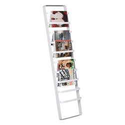 slat rack - white heights. Marine style ladder rests up against the wall to angle towels, ties, scarves, magazines and newspapers. Brite white hi-gloss powdercoated steel. Concealed rubber stoppers protect wall, prevent sliding.- Steel with a white powdercoat finish- Concealed rubber stoppers- Made in Taiwan