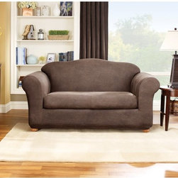 Sure Fit - Sure Fit Stretch Leather Two Piece Loveseat Slipcover Multicolor - 37335 - Shop for Chair and Slip Covers from Hayneedle.com! The 2-piece Stretch Separate Seat cover is a form fitting slip made from a soft poly/cotton and spandex material that features an elasticized base for a custom look. It is designed to minimize tucking fit to various sized arms and accommodate a separate seat either box or T-cushion.Please note this product does not ship to Pennsylvania.