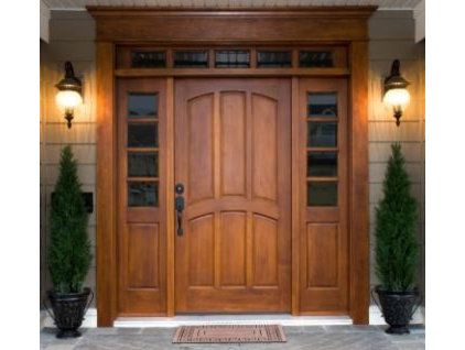 traditional front doors Wood entry with transom