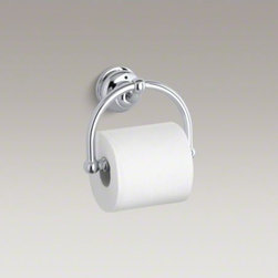 KOHLER - KOHLER Fairfax(R) toilet tissue holder - With smooth, graceful lines and curves, Fairfax brings elegant style to your bath or powder room. This arching toilet tissue holder offers practical use while reflecting the timeless design of Fairfax faucets and accessories.