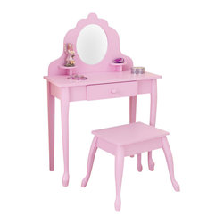 Kidkraft - KidKraft Medium Diva Table and Stool in Pink - Kidkraft - Kids Vanities - 13023 - Every little girl needs a vanity table to keep jewelry brushes and barrettes. KidKraft's white Medium Diva Table and Stool Set is crafted from wood and is a stylish and pretty focal point for every little girl's room.