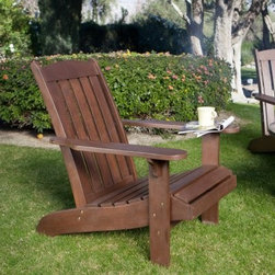 Coral Coast Cabos Java Brown Wood Adirondack Chair - Give yourself the perfect place to unwind with the Cabos Adirondack Chair - Java Dark Brown. Crafted of durable acacia wood this chair is built to stand up to the elements. This adirondack chair sports a deep dark Java Brown stain that will add charm and character to your outdoor setting. The contoured seat and comfort back are sure to keep you feeling good until all the guests have gone and when they do those wide armrests will be just the support you're looking for. Java stain finish will weather over time and wood will take on a silvery gray patina (common to all outdoor wood). Can be oiled twice a year to maintain finish - available at local hardware stores. Wooden Outdoor Furniture Care and MaintenanceThe finish on wood outdoor furniture when exposed to an environment with substantial temperature changes (moisture sun and salt air) can change over time. It is not uncommon and users should expect some swelling discoloration or possible surface cracks due to the outside exposure and changes in the weather. These are considered natural occurrences of wood and should not be considered as a product defect. To prolong the life of your item you should consider placing under a covered area.