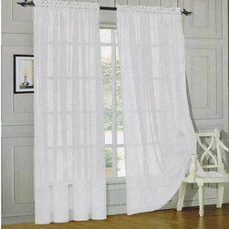 Elegant Comfort 2-Piece Solid Sheer Panel with Rod Pocket - Replace heavy drapes with airier options.