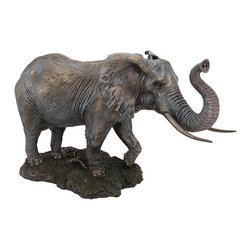 Zeckos - Large Bronze Finished Elephant Statue Hand Painted Accents - This beautiful cold cast resin elephant statue is quite lifelike. The statue measures 12 inches tall, 18 inches long and 9 inches wide. It has a wonderful bronzed finish that gives it the look of metal, and has hand-painted accents to show off the incredible detail. It's a must have for elephant lovers