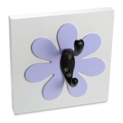 Homeworks Etc - Homeworks Etc Flower Single Wall Hook, lavender - Decorative flower themed wall hook for the nursery and kids room.  Great for hanging towels, clothes, and more.