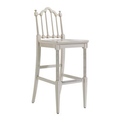 Stanley Furniture - Charleston Regency-Chippendale Bar Stool - The stately Chippendale Bar Stool features classic turned back splats and intricately carved front legs. A nickel-finished scuff plate thoughtfully protects stretchers. Inspired by the rich, thick gloss of marine paints, this particular white has been infused with a drop of cream