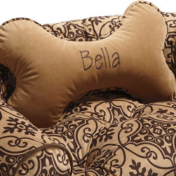 Frontgate - Valencia Bone Pillow Dog Bed - The first letter of your monogram will be uppercase, the rest will be lowercase. Non-removable cover; spot clean. Please note, personalized items are nonreturnable. Allow 3-5 additional days for delivery. Our Personalized Bone Dog Pillow is crafted of plush, breathable microvelvet. This decorative dog pillow will keep your pet comfortable in all seasons. . . . .