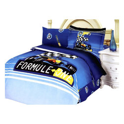 Le Vele - 4 Pc Formula Twin Bedding Set in Blue - Includes bed sheet, duvet cover, one pillow cases and one pillow case flange. Machine washable. Fabric care. Tumble dry. 205 thread count. Imported. Snaps at foot of duvet make it easy to insert comforter. Oversized flat sheet provides versatility. Can be tucked in or hang over. Superior workmanship with fine yarns of satin weaving for wrinkle control. Printed with latest reactive dyeing technology for excellent brightness and long lasting colors. Sheets feel soft and inviting. Made from 100% high quality cotton. Made in Turkey. 2 in. pillow case flange. Bed sheet: 96 in. L x 71 in. W. Duvet cover: 87 in. L x 63 in. W. Pillow cases: 30 in. L x 20 in. W. Pillow cases flange: 32 in. L x 20 in. WFormula car Racing is featured on this predominantly blue colored junior duvet set. Guaranteed many years of reusable life. This complete bedding set is delivered in an elegant box with a Junior bedding cartoon print. A Le Vele French designer carrying gift bag is also included in the package.