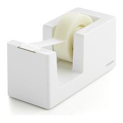 Poppin® White Tape Dispenser - We've partnered with the modern design mavens at Poppin for our curated collection of desk accessories—each a testament to their mission of creating beautiful everyday objects that blend work and life. White tape dispenser deconstructs the traditional design in a sleek, modern version you'll want to keep in sight. Tape roll is easy to replace; serrated edge provides smooth tear-off while the solid weighted core keeps the dispenser in place.