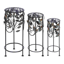None - Round Metal Plant Stand (Set of 3) - These metal planters are round in shape,these planters look great and hold even heavy plants for you with style and elegance. Crafted of excellent quality metal,these planter offer unmatched strength and durability with resistant abrasion quality.