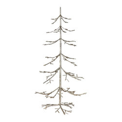 """Silver Iron Twig Tree 36"""" - Sturdy iron branches are what this twig tree are comprised of - an idea piece of decor to personalize with your own special theme. The Silver Iron Twig Tree stands three feet tall and ready to be adorned with the ornaments of your choosing. Perch it on an accent table or anywhere you want to incorporate festive decor."""