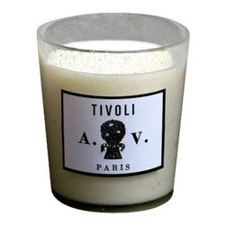 """ASTIER DE VILLATE - Tivoli Scented Candle by Astier de Villatte - In the gardens of the Villa dEste, fountains and waterworks are bubbling in unison. In the shade of hundred-year-old cypress trees,we revel in mists of fresh citrus and abandon ourselves to the haunting fragrance of cedar leaves and cypress wood.9""""d x 10""""h"""
