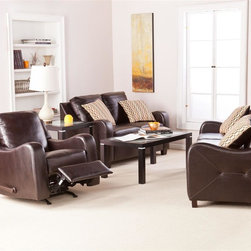 Southern Enterprises - Braxton 3 Piece Sofa with Reclining Chair - Includes 1 sofa, 1 loveseat, 1 reclining chair, and 4 toss pillows. Chocolate bonded leather with espresso legs. Toss pillows feature one side in chocolate and one side with link pattern. Constructed of 100% hardwood base and bonded leather. Cushions are made of 1.8 density CA foam, memory foam, and recycled blown polyester fiber. Assembly required ; five minutes or fewer. Loveseat: 52.5 in. W x 33.5 in. D x 35 in. H, seat: 41.5 in. W x 20 in. D x 19 in. H. Sofa: 72.5 in. W x 34 in. D x 35 in. H, seat: 62 in. W x 20 in. D x 19 in. H. Reclining chair: 31.5 in. W x 35 in. D x 35 in. H (52 in. D reclined), seat: 21 in. W x 21 in. D x 19.5 in. H. Space under furniture: 3.25 in. H. Cushions: 6 in. THK (bottom), 8 in. THK (back); cushions are stitched in place and are not removable. Toss pillows: 16 in. W x 16 in. D The foundation for a family room that's lived in and loved is an attractive, cozy sofa set. The comfort and luxury of this sofa set are sure to be the highlight of the room and envy of your guests. This sofa set features gorgeous chocolate bonded leather, which offers the look and feel of luxury without the price tag. The scooped arms provide both design and comfort, while the sides feature lovely stitching details. This elegant set features sofa, loveseat and reclining chair. This sofa set is easy to assemble, making it the perfect choice for any home. In approximately five minutes, you can assemble this sofa set without any tools or formal training. This sofa set features an easy to assemble design which utilizing connecting brackets and allows you to simply click each into place. The ease of assembly isn't only an advantage when you first purchase this sofa set, disassembling and reassembling is a breeze for stress-free moving or rearranging. This sofa set complements homes with transitional to modern decor. Add this sofa set to your living room or family room today!